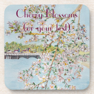 Cherry Blossoms Washington DC Painterly Watercolor Drink Coaster