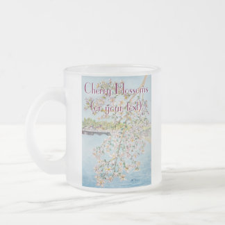 Cherry Blossoms Washington DC Painterly Watercolor Frosted Glass Coffee Mug