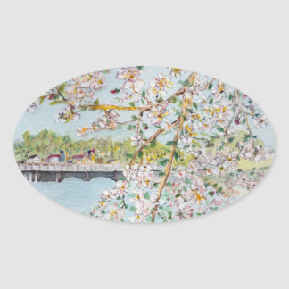 Cherry Blossoms Washington DC Painterly Watercolor Oval Sticker