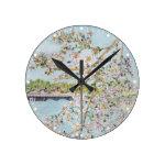 Cherry Blossoms Washington DC Painterly Watercolor Round Clock