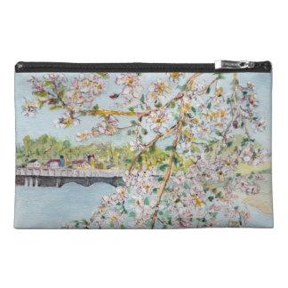 Cherry Blossoms Washington DC Painterly Watercolor Travel Accessories Bag