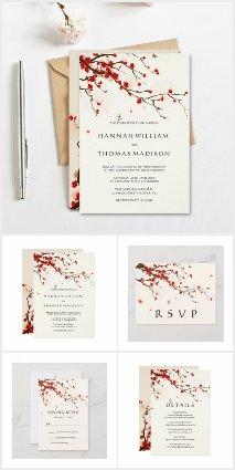 Cherry Blossoms Watercolor Floral Invitation Suite