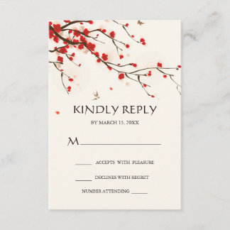 Cherry Blossoms Watercolor Floral Wedding RSVP