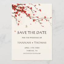 Cherry Blossoms Watercolor Wedding Save the Date