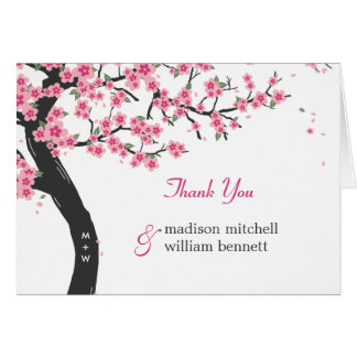 Cherry Blossoms Wedding Folded Thank You Cards