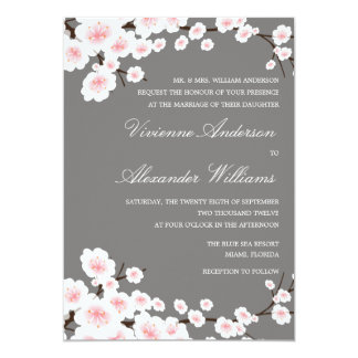 "CHERRY BLOSSOMS | WEDDING INVITATION 5"" X 7"" INVITATION CARD"