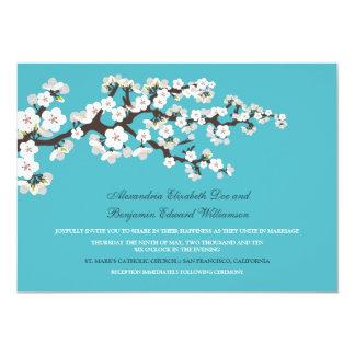 Cherry Blossoms Wedding Invitation (aqua)