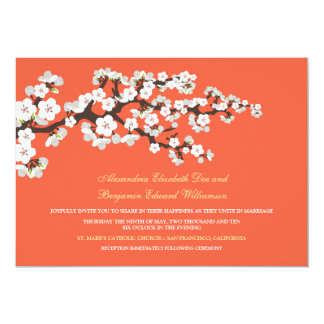 Cherry Blossoms Wedding Invitation (coral)