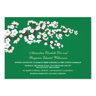 Cherry Blossoms Wedding Invitation (kelly green)