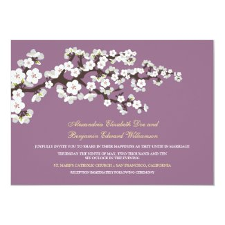 Cherry Blossoms Wedding Invitation (lavender)