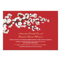 Cherry Blossoms Wedding Invitation (red)