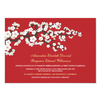 "Cherry Blossoms Wedding Invitation (red) 5"" X 7"" Invitation Card"