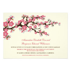 Cherry Blossoms Wedding Invitation (rose pink)