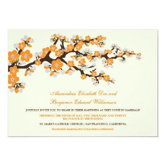 Cherry Blossoms Wedding Invitation (tangerine)