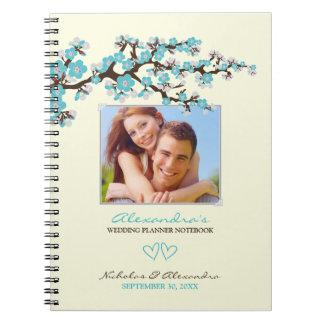 Cherry Blossoms Wedding Planner Notebook (aqua)