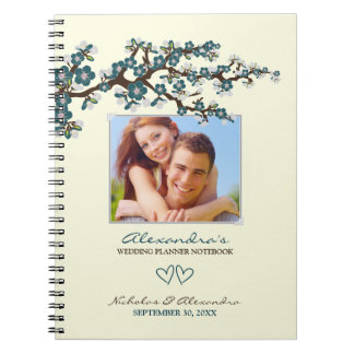 Cherry Blossoms Wedding Planner Notebook (blue)