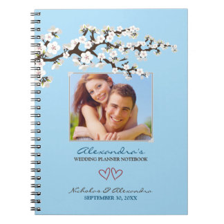 Cherry Blossoms Wedding Planner Notebook (blue)