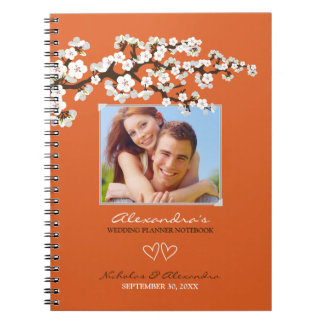 Cherry Blossoms Wedding Planner Notebook (coral)