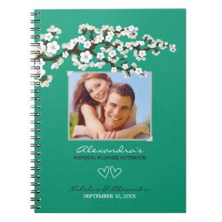 Cherry Blossoms Wedding Planner Notebook (emerald)