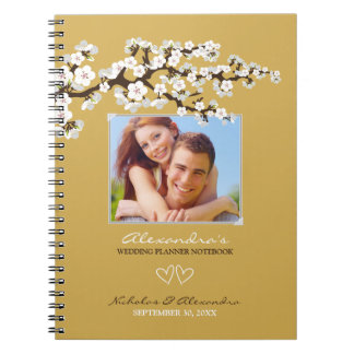 Cherry Blossoms Wedding Planner Notebook (gold)