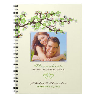 Cherry Blossoms Wedding Planner Notebook (lime)