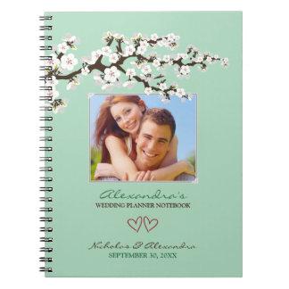 Cherry Blossoms Wedding Planner Notebook (mint)