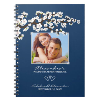 Cherry Blossoms Wedding Planner Notebook (navy)