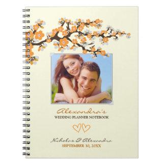 Cherry Blossoms Wedding Planner Notebook (orange)