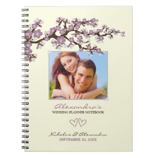Cherry Blossoms Wedding Planner Notebook (purple)