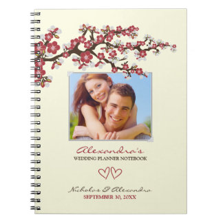 Cherry Blossoms Wedding Planner Notebook (red)