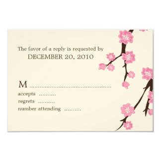 "Cherry Blossoms Wedding Response Cards 3.5"" X 5"" Invitation Card"