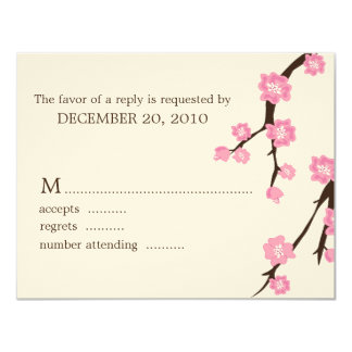 "Cherry Blossoms Wedding Response Cards 4.25"" X 5.5"" Invitation Card"