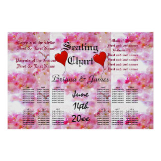 Cherry Blossoms Wedding Seating Chart Bride Groom