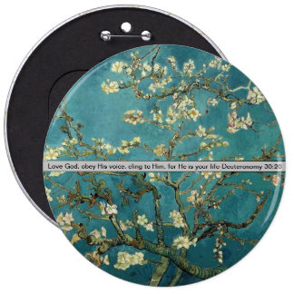 cherry blossoms with bible verse pinback button