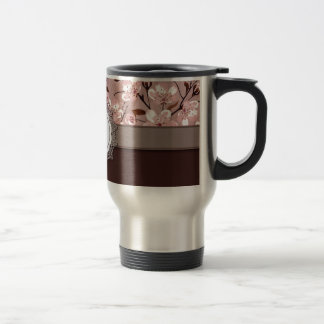 Cherry Blossoms with Lace Monogram 15 Oz Stainless Steel Travel Mug