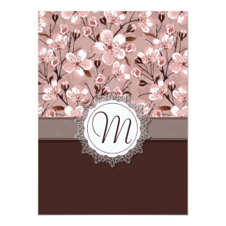 Cherry Blossoms with Lace Monogram Card