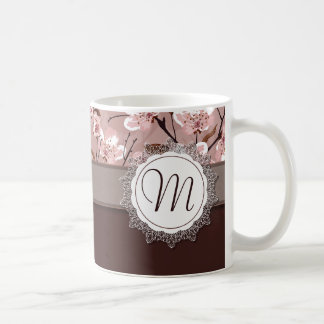 Cherry Blossoms with Lace Monogram Classic White Coffee Mug