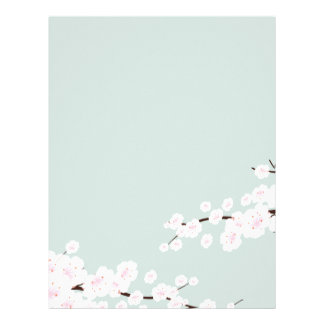 Cherry Blossoms with Mint Green Background Letterhead