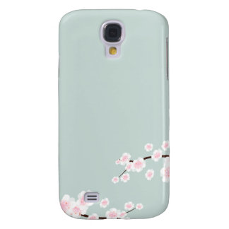 Cherry Blossoms with Mint Green Background Samsung S4 Case