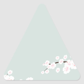 Cherry Blossoms with Mint Green Background Triangle Sticker