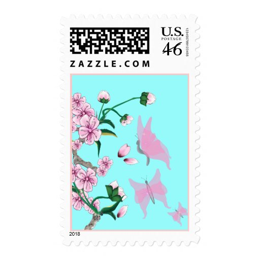 Cherry Blossoms with Pink Butterflies Postage