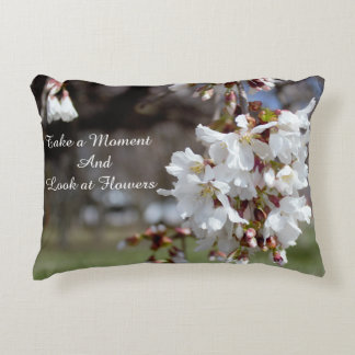 Cherry Blossoms with Saying Accent Pillow