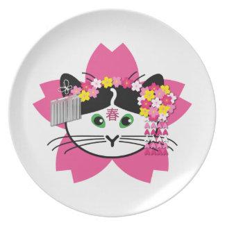 Cherry-blosson Cat Plate