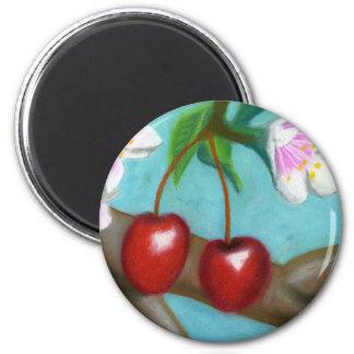 Cherry Blossum 2 Inch Round Magnet