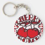 Cherry bomb design basic round button keychain