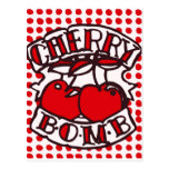 Cherry bomb design postcard