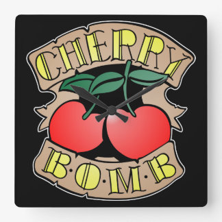Cherry Bomb Inverso Square Wall Clock