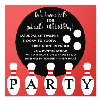 Cherry Bomb Red Pin Party Bowling Birthday Party 5.25x5.25 Square Paper Invitation Card