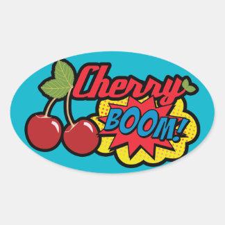 Cherry Boom! Oval Sticker