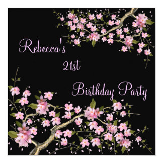 Cherry Bossom 21st Elegant Birthday Party Black Announcements